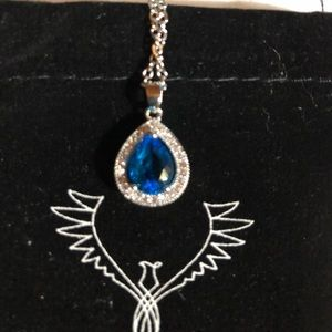 Jewelry - NWOT White Gold Plated Blue Austrian Necklace